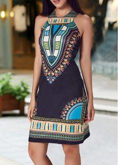 Sleeveless Round Neck Dashiki Print Black Dress on sale only US$25.01 now, buy cheap Sleeveless Round Neck Dashiki Print Black Dress at lulugal.com