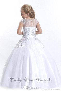 2016 White Princess Flower Girls Dresses For Wedding Cute Sheer Jewel Neck With Beads Appliques Communion Dresses Girls Pageant Gowns Ba1497 White Flower Girl Dresses For Toddlers White Flower Girls Dresses From Wholesalefactory, $102.03| Dhgate.Com