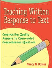 Nancy's comprehension and written response strategies give teachers the first-tier Response-to-Intervention (RTI) help they need to get students off to a great start!  Your intermediate students may be able to orally explain what they read, but can they write a logical, thorough, and well-elaborated response to text? This professional resource shows you how to teach written response as an expository piece, with a sequence of explicit instruction for both narrative and expository literature.