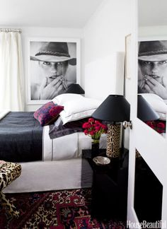 Love Michelle Adams Guest room. Very cool. Calico's Jamil cotton covers its Zoe ottoman and Ralph Lauren Home's Beckford lamps. Walls painted in Tibetan Jasmine by Ralph Lauren Paint.