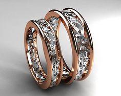 Two tone filigree wedding band set, diamond wedding rings, rose gold, white gold, men filigree ring, matching ring set, rose gold wedding