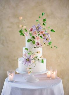 Wedding Cake with Hand Painted Sugar Flowers in Peach and Purple Pastel Wedding Cakes, Amazing Wedding Cakes, Elegant Wedding Cakes, Pastel Weddings, Spring Weddings, Amazing Cakes, Mod Wedding, Purple Wedding, Wedding Colors