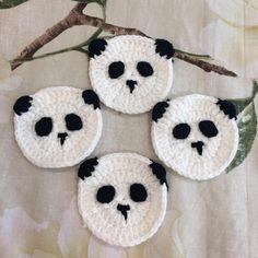 Set 4 Panda Crochet Coasters,Chinese Handmade Coasters, Coaster Set, Drink Coasters, Coasters for Dr Coaster Holder, Coaster Set, Crochet Owls, Free Crochet, Crochet Ideas, Knit Crochet, Crochet Patterns, Craft Stalls, Playroom Decor
