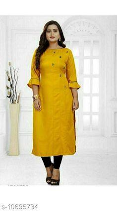 Kurtis & Kurtas Women's Self-Design Rayon Kurti Fabric: Rayon Sleeve Length: Three-Quarter Sleeves Pattern: Self-Design Combo of: Single Sizes: S (Bust Size: 36 in Length Size: 44 in) M (Bust Size: 38 in Length Size: 44 in) L (Bust Size: 40 in Length Size: 44 in) XL (Bust Size: 42 in Length Size: 44 in) XXL (Bust Size: 44 in Length Size: 44 in) XXXL (Bust Size: 46 in Length Size: 44 in) Country of Origin: India Sizes Available: S, M, L, XL, XXL, XXXL   Catalog Rating: ★4.1 (478)  Catalog Name: Abhisarika Alluring Kurtis CatalogID_1964499 C74-SC1001 Code: 772-10695734-