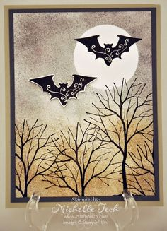 handmade Halloween card:   [2stampis2b-stampinup-masked-halloween-fromthecrypt-branchout-sponging.jpg] .. luv the stylized bats ..