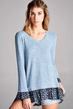 Look casual and cute in this knit ruffle hem and sleeve top. Casual enough for knocking out your to-do-list but cute enough for shopping and out to lunch. The soft fabric and touch of spandex makes th