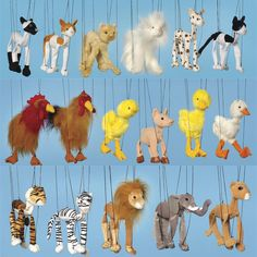 Animal Marionettes  http://2ols.com/item_13565_462223890-3-Assorted-Baby-Marionette-Puppets.htm