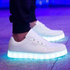 Unisex Mujer Hombre LED Luz USB Luminoso Con Cordones Zapatos Deportivos Tenis Zapatillas