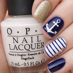 Anchor nails are trendy and great looking. That is why it is time you master the art of anchor accenting your nails. Fresh tutorials together with newest manicure ideas are waiting! Anchor Nail Designs, Nautical Nail Designs, Anchor Nail Art, Nautical Nail Art, Beach Nail Designs, Cool Nail Designs, Nails With Anchor Design, Navy Nail Designs, Nautical Style