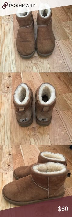 Ugg Minis in chestnut. Worn ONLY 3 times! Super comfortable Ugg Minis in chestnut. Worn ONLY 3 times! UGG Shoes Winter & Rain Boots