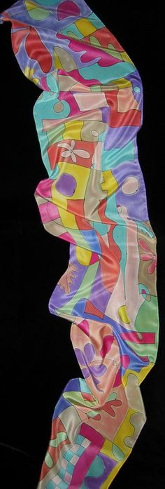 One of a kind brush painted silk crepe scarf using fine silk dyes and silk resist by Jan Gipple. Professionally set colors for brilliance. Hand washable.