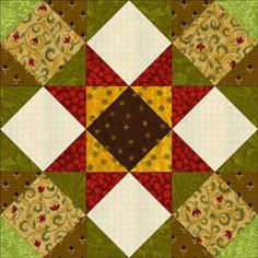 Square-in-a-square times 9 = Kansas Star Block. Sailboat baby quilt & directions included inside.