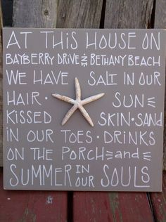 Personalized Beach House Sign.... by zoegirlgifts on Etsy, $35.00