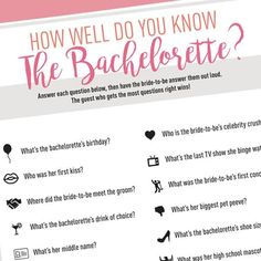 Bachelorette Quiz - Free Digital Download