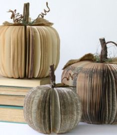 Check out these adorable pumpkins made of books! http://writersrelief.com/