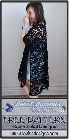 A gorgeous spring/summer weight kimono style (ruana) cardigan Kimono Crochet, Crochet Cardigan, Crochet Shawl, Crochet Jacket, Freeform Crochet, Cotton Crochet, Diy Crochet, Crochet Ideas, Crochet Top