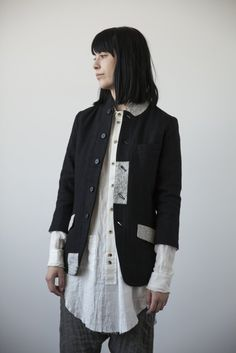 Black Wool Jacket with Broderie Anglaise Patches | cendre