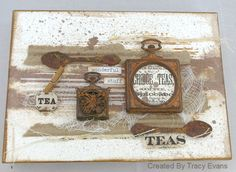Gorgeous tea themed mixed media canvas created with @canvascorpbrand Beans and Bags papers. Also used some @tatteredangels paints. Lovely DIY kitchen decor!