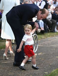 On the way back to Sandringham House, it all got a bit too much for Prince George, who began crying and his father the Duke of Cambridge had to kneel down to settle him.