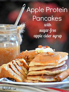 Apple Protein Pancakes with Sugar Free Apple Cider Syrup - TheFitFork.com