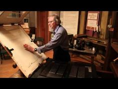 Demonstration of printing on Gutenberg's printing press.