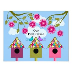 Colorful Birdhouses and Birds Housewarming Party Custom Invitations
