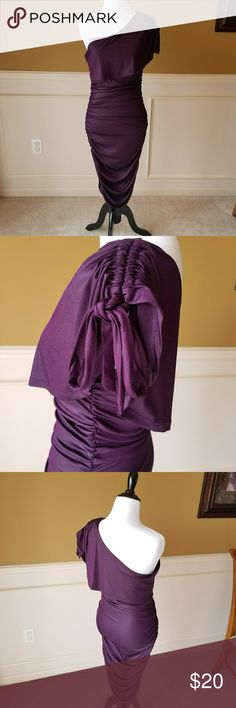 Purple One Shoulder Dress Size L, it fit me great when I was a 4 and my mannequin is a size 6. Stretchy thin material. Check picture #4 for light stain. Knee length. Charlotte Russe Dresses One Shoulder