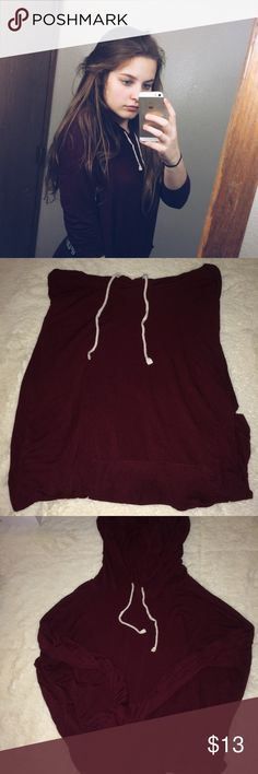 Cute Maroon Top lightweight and slightly transparent sweater. Small holes in sleeve because my ex's cat's claw got caught on it. Pink Republic Tops Sweatshirts & Hoodies