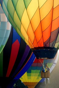 Riding in a hot air balloon.