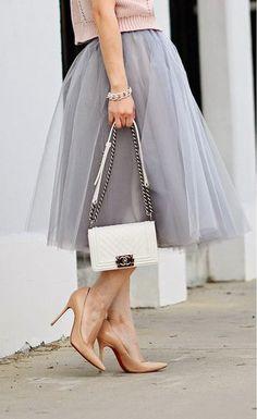 tulle skirt + white chanel + nude heels
