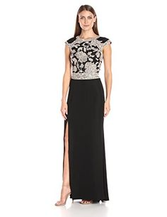 Tadashi Shoji Womens CapSleeve Crepe Dress with Peony Lace Bodice and Open Back and High Slit GinsengBlack 12 * Be sure to check out this awesome product.
