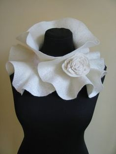 Handmade Felted Scarf collar neck warmer ivory with Flower Brooch Made to order – brooch Diy Fashion Scarf, Neck Piece, Collar And Cuff, Neck Scarves, Flower Brooch, Neck Warmer, Fashion Details, Fashion Ideas, Pattern Making