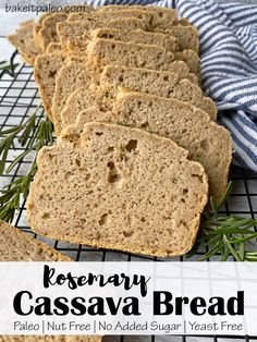 This grain free Rosemary Cassava Bread recipe is yeast free, nut free, dairy free and doesn't contain added sugar. Perfect for Paleo sandwiches and toast. Dairy Free Recipes, Paleo Recipes, Whole Food Recipes, Gluten Free Whole Grain Bread Recipe, Paleo Meals, Recipes Dinner, Paleo Bread, Paleo Baking, Paleo Food