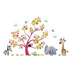 Vinilo decorativos infantiles en colores de animalitos, fabricado en impresión digital laminada sobre vinilo, recortado por el exterior para paredes infantiles