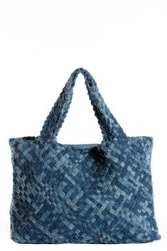 Recycled denim woven tote bag