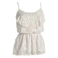Dawn Ruffle Cami (1.145 RUB) ❤ liked on Polyvore featuring tops, shirts, tank tops, tanks, knit tops, view all tops, lace tank top, lace tank, lace cami tank and white lace tank