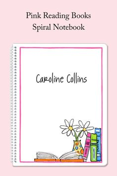 Bright, colorful books are joined by a polka dot vase on this pink bordered spiral notebook. Personalize with your own text! Kids Stationery, Personalized Stationery, Personalized Gifts, Book Girl, Card Reading, Spirals, Kid Names, Cute Designs, School Supplies