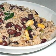 Couscous & Black Bean Salad - we just made this for dinner (sans chicken broth) and it is fantastic!