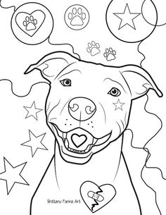 pitbull coloring page coloring page by brittanyfarinaart on etsy - Pitbull Coloring Pages
