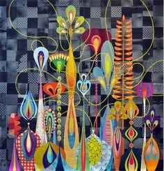 """""""Physurea"""" by Rex Ray. Painted paper on stretched linen."""