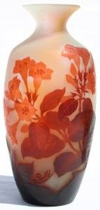 Galle Vase with Trumpet Flowers Design