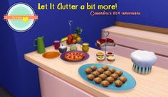 Guess what, more clutter that's right! Some more of Cassandre's kitchen clutter. I started out with 5 items, but they became 13… what can I say? :x The tableware is mostly matching the square plates on my 1st set here and I've added a slot to all three plates. I've also added recolors on the pie, muffins and the cute little chef hat, because why not?!   NOTES   Muffins and pie are separate items, I separated them from their plates so you can use the empty plates as you please.     You need…