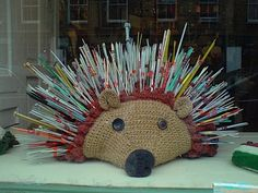 Hedgehog knitting needle holder!