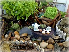 A waterfall for a fairy garden some big glass stones hot glued
