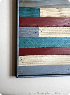 Thrifty Decor Chick: DIY wood art (another PB knock off!)  Love this!!  Exactly what I am looking for in my family room!
