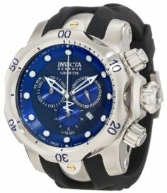 Invicta Men's 10958 Venom Blue Dial Watch Invicta. $318.98. Flame-fusion crystal, stainless steel case, and black polyurethane strap. Chronograph functions with 60 second, 30 minute and 1/10 second blue subdials; date function. Swiss quartz movement. Water resistant to 1000 meters. Screw-down crown. Save 80%!