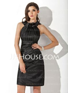 Cocktail Dresses - $88.99 - Sheath Scoop Neck Knee-Length Charmeuse Cocktail Dress With Ruffle Flower(s) (016021272) http://jjshouse.com/Sheath-Scoop-Neck-Knee-Length-Charmeuse-Cocktail-Dress-With-Ruffle-Flower-S-016021272-g21272