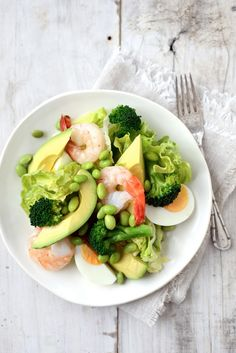 'I Got the Power' Salad: broccoli, edamame, avocado & shrimp with sesame dressing