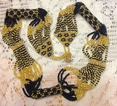 Vintage handmade micro beads black gold tiny beads bracelet necklace set. by vintagenecklaces715 on Etsy