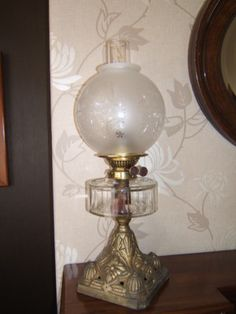 Oil Lamp vintage Brass Youngs special clear font OL31 | eBay